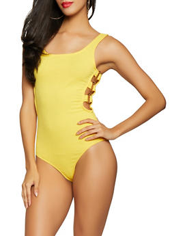 Rib Knit Side Cut Out Bodysuit - 1405069391364