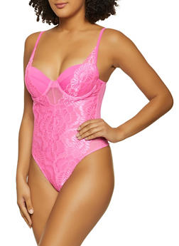 Lace Padded Thong Bodysuit - 1405069391643