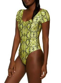 Snake Print Spandex Bodysuit - 1405069393750