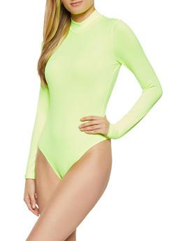Mock Neck Solid Bodysuit - 1405069393760