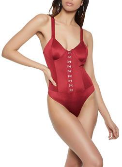 Solid Bustier Bodysuit - 1405069395336
