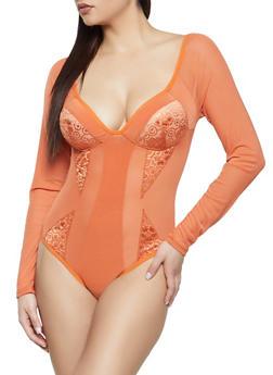 Padded Mesh Bodysuit - 1405069395396