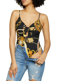 Printed Tie Front Thong Bodysuit - 1405075390271