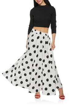 Polka Dot Maxi Skirt - 1406056126579