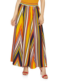 Striped Maxi Skirt - 1406056126620