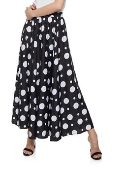 Polka Dot Maxi Skirt - BLACK/WHITE - 1406056126622