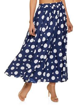 Polka Dot Maxi Skirt - 1406056126622