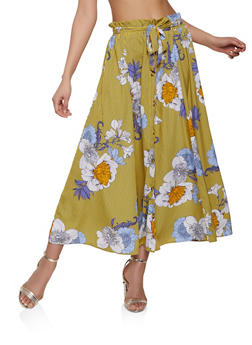 Striped Floral Button Front Maxi Skirt - 1406056126649
