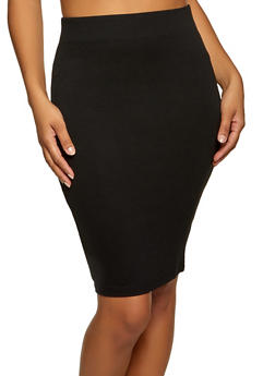 Solid Ponte Skirt - 1406058751669