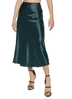 Satin Polka Dot Midi Skirt - 1406063401819