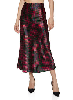 Satin Polka Dot Midi Skirt - 1406063401819