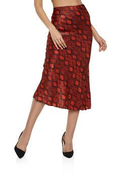 Satin Snake Print Skirt - 1406063408585