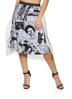 Newspaper Print Tulle Skater Skirt - 1406063408814