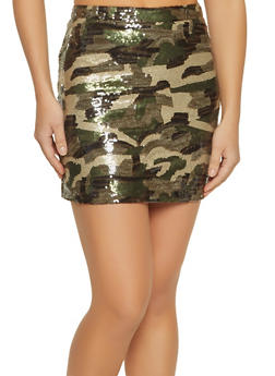 Sequin Camo Mini Skirt - 1406068192224