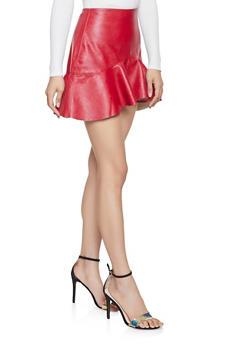 Faux Leather Mini Skater Skirt - 1406068192404