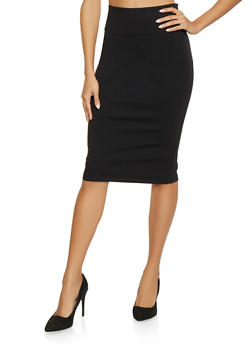 Ponte Knit Pencil Skirt | Black - 1406068192412