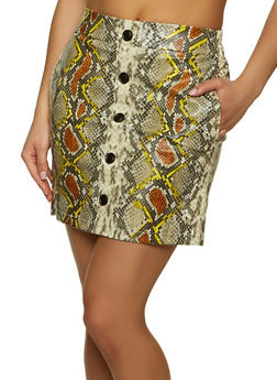 Snake Print Faux Leather Skirt - 1406068193390
