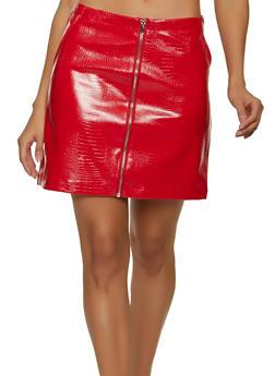 Faux Croc Embossed Mini Skirt - 1406068193632