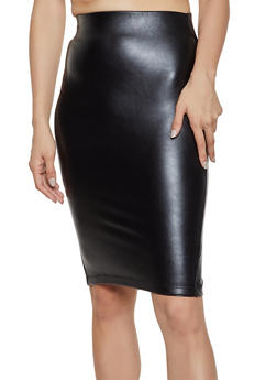 Faux Leather Back Slit Pencil Skirt - 1406068195939