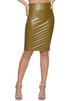 Faux Leather Pencil Skirt - 1406068196013