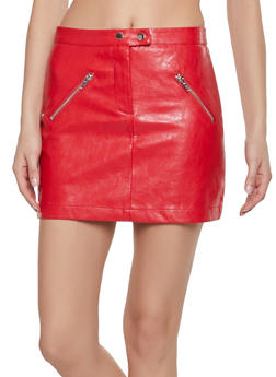 Zip Pocket Faux Leather Mini Skirt - 1406068197037