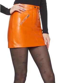 Zip Pocket Faux Leather Mini Skirt - 1406068197037