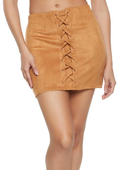 Lace Up Faux Suede Mini Skirt - 1406068198112