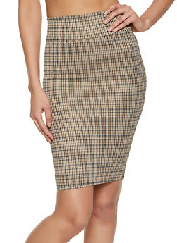 Midi Houndstooth Pencil Skirt - 1406068512143