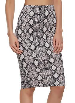 Snake Print Midi Skirt - 1406068513389