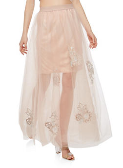 Embroidered Tulle Maxi Skirt - 1406069390137