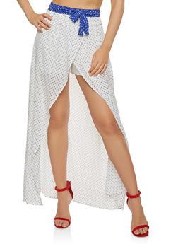 Polka Dot Tie Front Maxi Shorts - 1406069390153