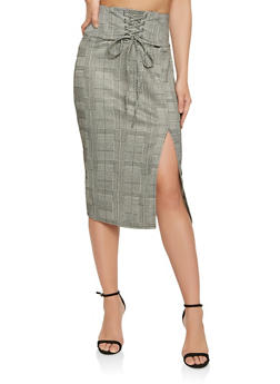 Lace Up Plaid Pencil Skirt - 1406069390162