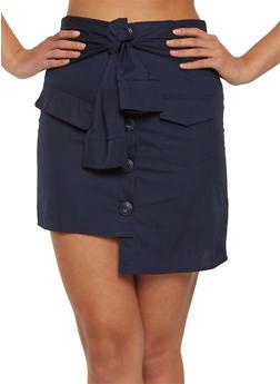 Button Detail Mini Skirt - 1406069390163