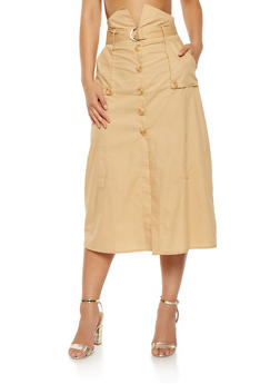 High Waisted Button Front Skirt - 1406069390164