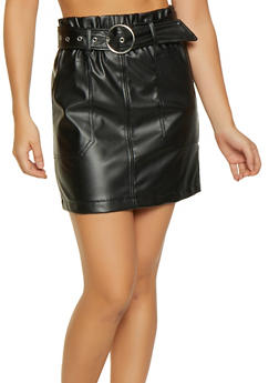 Paper Bag Waist Faux Leather Mini Skirt - 1406069390221