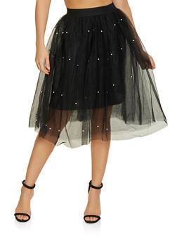 Faux Pearl Studded Tulle Skater Skirt - 1406069390222