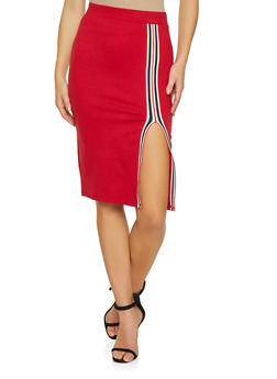 Striped Tape Front Slit Pencil Skirt - 1406069390247