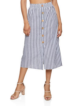 Striped Button Detail Midi Skirt - 1406069390285