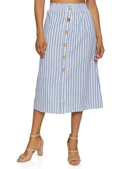 Striped Button Detail Midi Skirt - 1406069390285