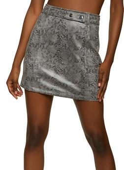 Snake Print Mini Skirt - 1406069390396