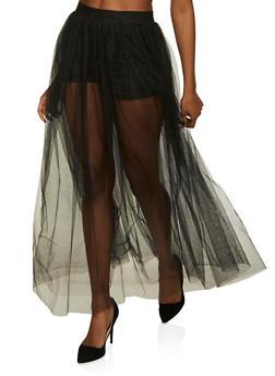 Tulle Maxi Skater Skirt - 1406069390508