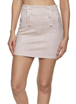 Faux Suede Button Detail Mini Skirt - 1406069390806
