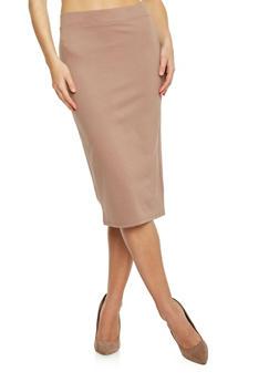 Elastic Waistband Pencil Skirt - 1406069391009