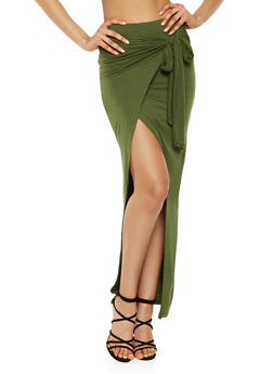 Solid Faux Wrap Maxi Skirt - 1406069391061