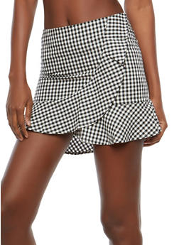 Faux Wrap Gingham Mini Skirt - 1406069391090