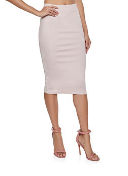 Solid Ponte Pencil Skirt - 1406069391091