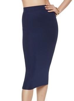 Solid Ponte Pencil Skirt - 1406069391091