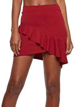 Scuba Knit Ruffled Asymmetrical Mini Skirt - 1406069391099