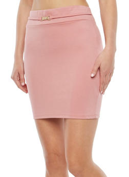 Belted Ponte Mini Skirt - 1406069391112
