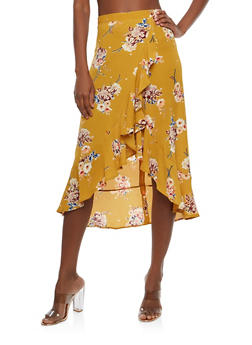 Floral Ruffle Faux Wrap Skirt - 1406069391119
